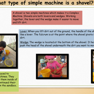 Dolphins were introduced to shovels as simple machines. They were able to explore them inside of the classroom and continued their exploration outside in the sandbox.